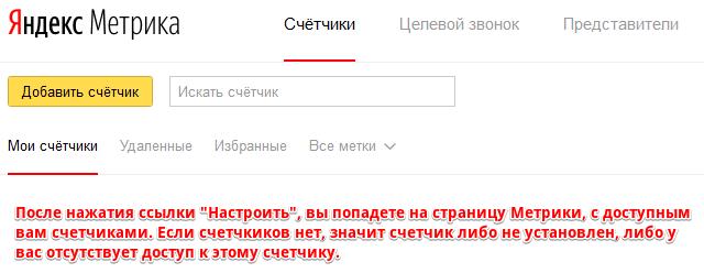Страница счетчиков Яндекс Метрики